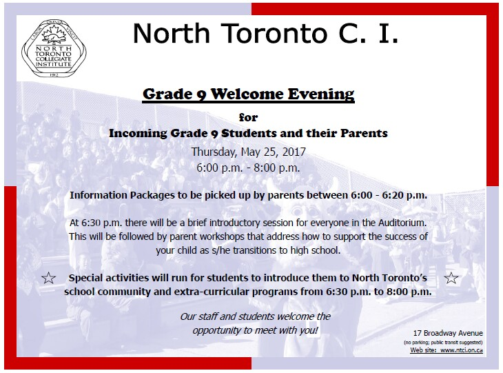 Incoming Gr 9 Welcome Night