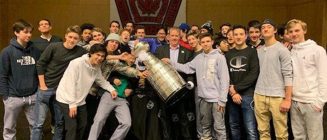 The Stanley Cup with the Boy's Hockey Team - January 29, 2019