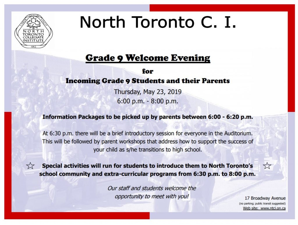 Incoming Gr 9 Welcome Evening
